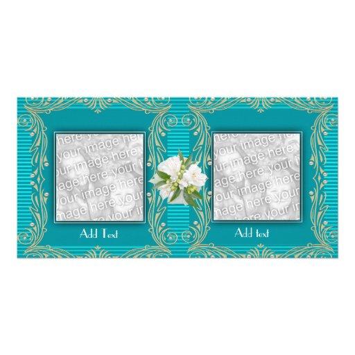 Photo Card Aqua Blue Ripple Floral 2 Double Frame