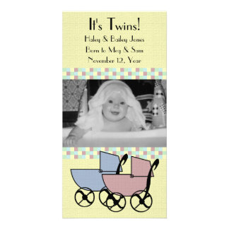 Photo Card Birth Announcement for Twins
