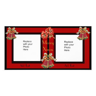 Photo Card Black Gold Floral Double Xmas