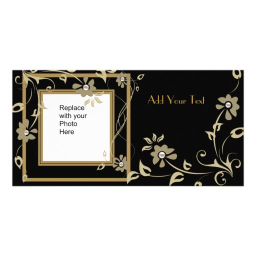 Photo Card Black Gold Floral