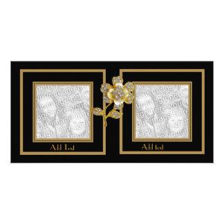Photo Card Black Gold Flower Double Frame