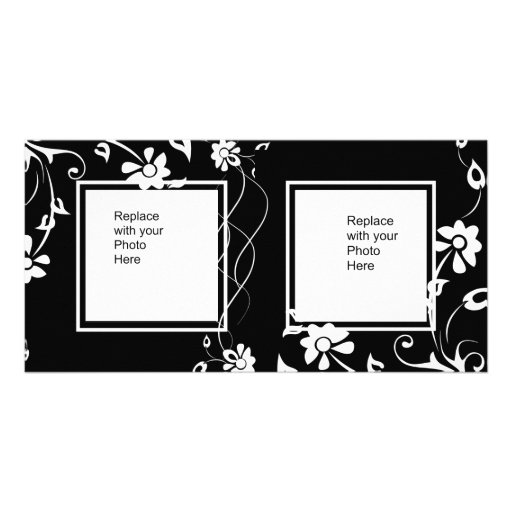 Photo Card Black White Floral Double