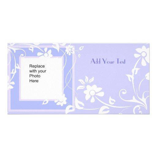 Photo Card Blue Mauve Floral