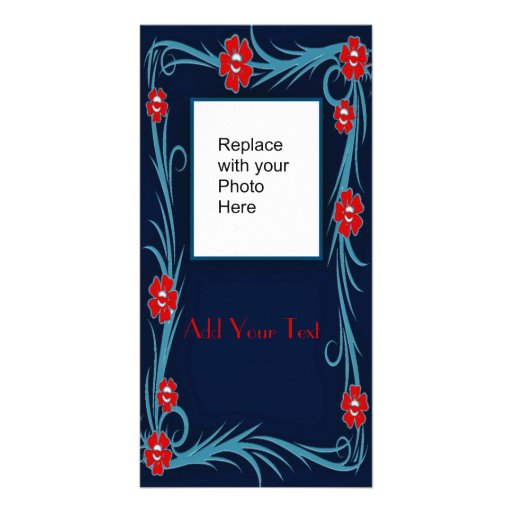 Photo Card Blue Red Floral