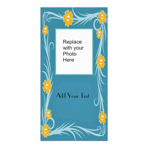 Photo Card Blue Yellow Floral