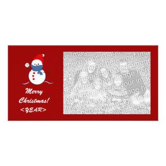 Photo Card - Christmas Baseball Snowman
