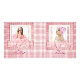 Photo Card Girl Pink Plaid add your photo