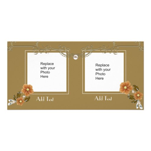Photo Card Gold Floral Double