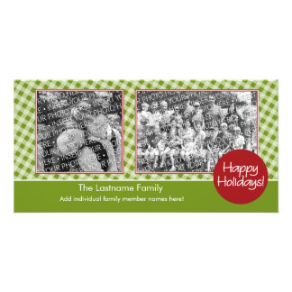 Photo Card: Happy Holidays - 2 photos - horizontal Card