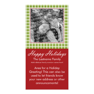 Photo Card: Happy Holidays Red Green Gingham Card