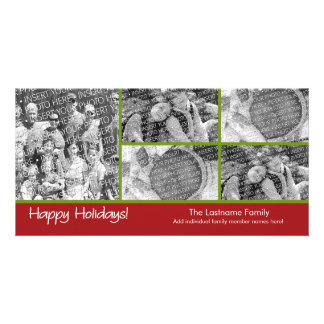 Photo Card: Happy Holidays with 5 photo collage Card