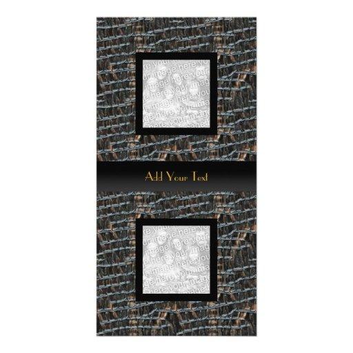Photo Card Leather Look (7)  Elegant Black