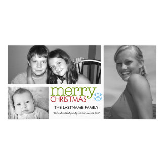 Photo Card Merry Christmas with 3 photo collage