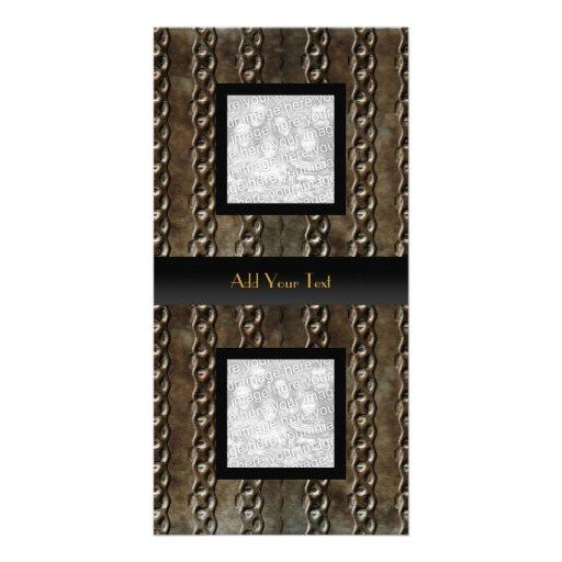 Photo Card Metal Look Elegant Black
