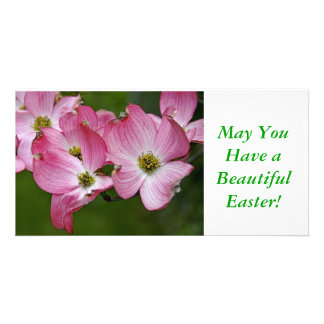 Photo Card:  Pink Dogwood Easter Customized Photo Card