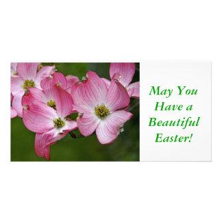 Photo Card:  Pink Dogwood Easter Customized Photo Card
