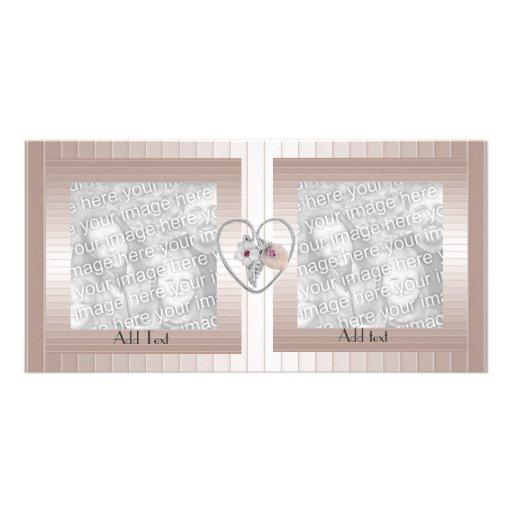Photo Card Pink Salmon Ripple Heart Double Frame