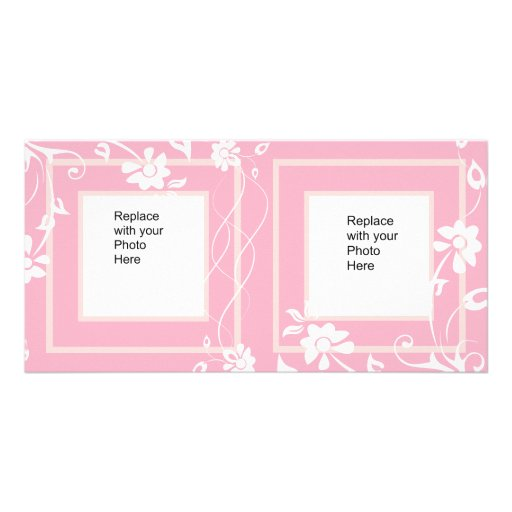 Photo Card Pink White Floral Double