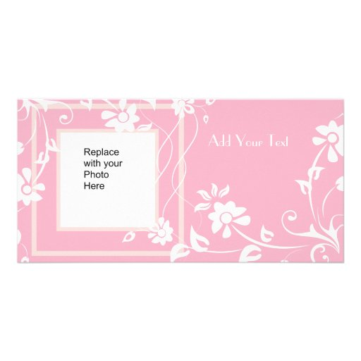 Photo Card Pink White Floral