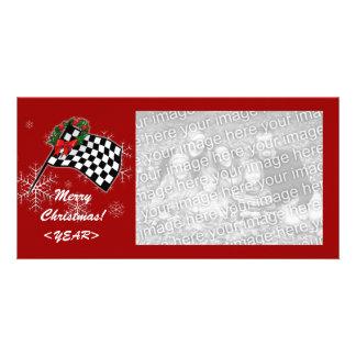 Photo Card - Racing Flag Christmas