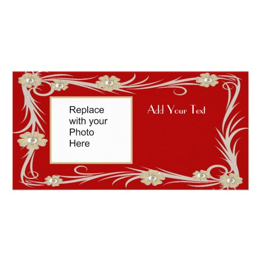 Photo Card Red Gold Floral