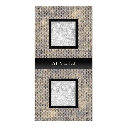 Photo Card Silver Metal Look Elegant Black