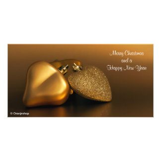Photo Card with Golden Hearts for Christmas