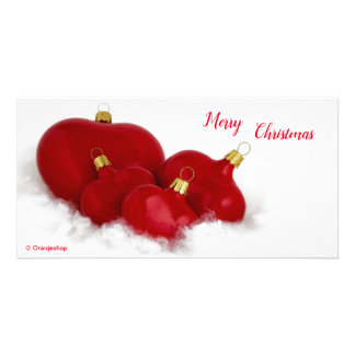 Photo Card with Red Hearts for Christmas