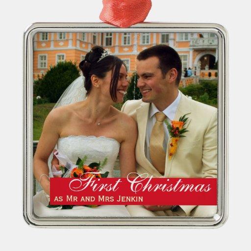Photo carrée de bande Noël rouge de couples de pre Ornement De Noël