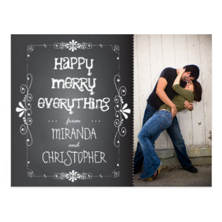 Photo Chalkboard Happy Merry Everything Postcard
