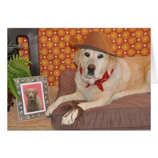 Photo/chien dans le chapeau de cowboy/carte d'anni carte de vœux