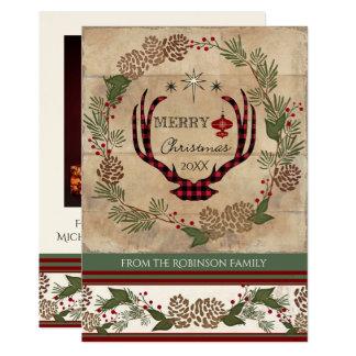 Photo Christmas Rustic Wooden Lodge Deer Antlers Card