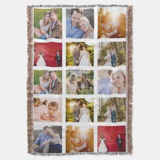 Photo Collage 15 photos White Throw Blanket