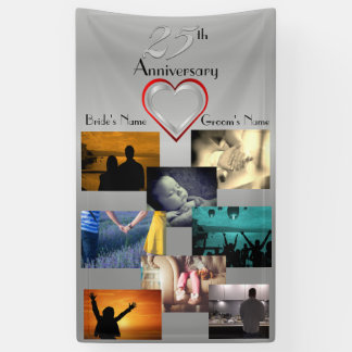 Photo Collage 25th Wedding Anniversary Banner