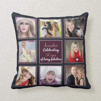 Photo Collage 50th 40th 30th 21st Instagram BLUE Throw Pillow