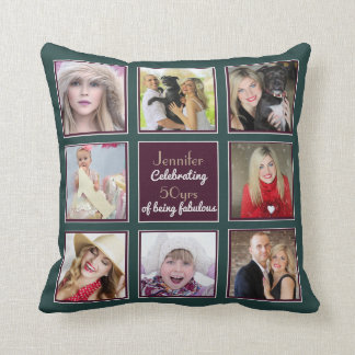 Photo Collage 50th 40th 30th 21st Instagram Teal Throw Pillow