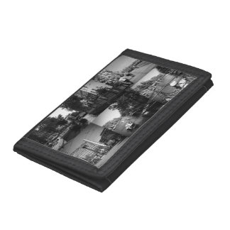 Photo collage Amsterdam 1 in black and white Tri-fold Wallets