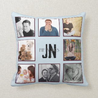 Photo Collage ANY Occasion Monogram Instagram Throw Pillow