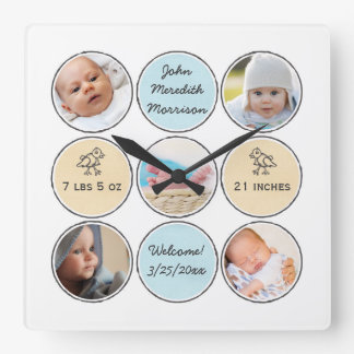 Photo Collage Baby Boy Name, birth stats and duck Square Wall Clock