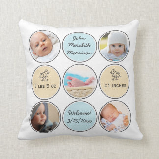 Photo Collage Baby Boy Name, birth stats and duck Throw Pillow