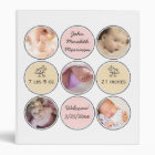 Photo Collage Baby Girl Name, birth stats and duck 3 Ring Binder