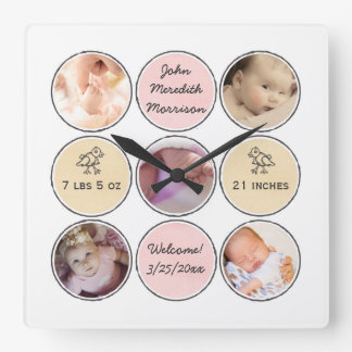 Photo Collage Baby Girl Name, birth stats and duck Square Wall Clock