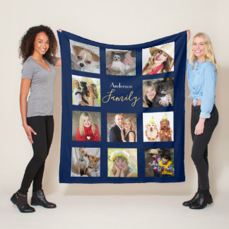 Photo Collage Blanket Navy Blue with Name