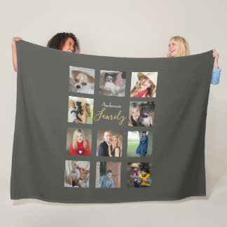 Photo Collage Blanket Silver Grey with Text