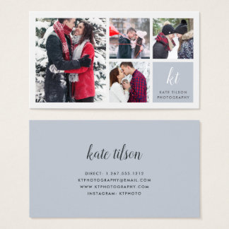 Photo Collage & Calligraphy Monogram Photographer Business Card