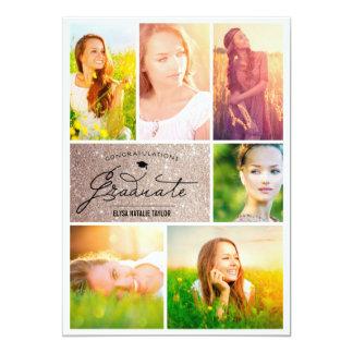 Photo Collage Chic Glitter Graduation Party Invite