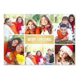 "Photo Collage Christmas Card | Gold Chevron 5"" X 7"" Invitation Card"