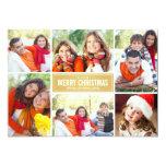 "Photo Collage Christmas Card | Gold Chevron 5"" X 7"" Invitation Card"