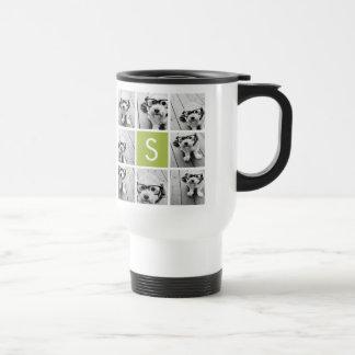Photo Collage Custom Monogram - Lime Green Mugs
