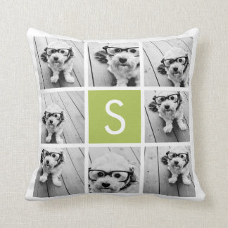 Photo Collage Custom Monogram - Lime Green Throw Pillow
